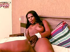 Sexy Perola Negra is a hot transgirl with a sexy body, a big juicy ass, big boobs and a huge hard cock! See this sexy tgirl jacking her massive dick!