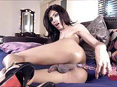 Sara is a horny thin tgirl with a big hard cock! Watch this sexy transgirl fuckingherself with her dildo while she is jacking off and shooting a big load of cum!