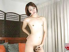Good looking Asian she-male is sensually caressing herself.