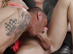 They keep sucking each other`s dicks until it is time to move on and Nikki offers up her dainty asshole for D. Arclyte to stuff with his own massive cock. Nikki rides D. Arclyte`s big old cock like he is Seabiscuit, and then they cum on each other, after