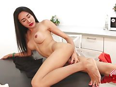 Hot Pretti is a sexy newcomer with a hot slim body, big boobs, a sexy ass and a delicious cock! See this horny transgirl stripping and stroking her cock for you!