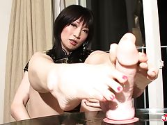 Hinata Kanan looks simply gorgeous. She has a great body, natural tits and rock hard tgirl cock. After she has a little fun stroking her hot tgirl cock she jumps in the shower room to wash herself off