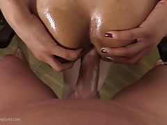 She moans and wants more, turning her face around and starting to ride the cock. There`s no chance she will miss this opportunity to have her mouth filled with cum after she made that cock happy with her hole.
