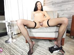 Christen is a smoking hot black tgirl with an amazing slim body, small sexy tits, a nice ass and a delicious hard cock! Watch this hot transgirl stroking her big dick and playing with her ass!