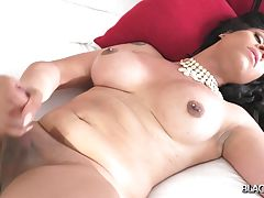 Gorgeous Kinky Khia returns for more! This beautiful ebony doll got a smoking hot curvy body, big boobs with pierced nipples and a juicy big booty! Watch her posing and stroking her cock until she makes a mess cumming all over herself!