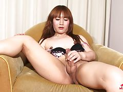 Rio is an adorable tgirl doll with a shaved cock that needs attention! She has a nice body, natural tits and a rock hard tgirl cock. Watch Rio Asahina having a great time in her chair stripping down and stroking her hard tgirl cock for you.