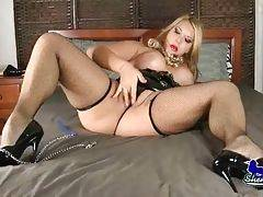 Big shaped transsexual blonde Claudia poses for your joy.
