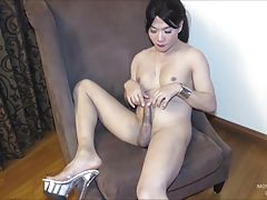 But Movie has something else on her mind and seduces the camera guy with a blowjob. In the middle of the blowjob, the camera man is caught and Gogo sperms all over herself with the excitement. Gogo`s big dick produces quite the cumshot!