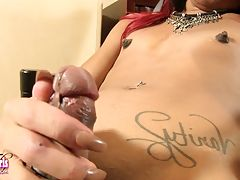 Sexy slim Belize has a hot all natural body, a firm bubble butt and a thick hard cock! See this sexy transgirl jacking off and cumming for you!
