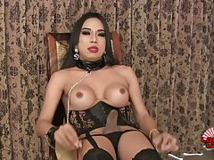 Soda is a horny tgirl with perky tits, a juicy ass and a rock hard cock! Enjoy this sexy transgirl masturbating until she pops a big cumshot!
