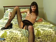 Gorgeous Chloe Rebelle is a smoking hot Grooby girl with an amazing slim body, small sexy breasts, a firm butt and a delicious cock! Enjoy this hot tgirl as she plays with her cock through her fishnets!