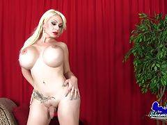 Hot transsexual showing her curves and stroking her big hard cock!