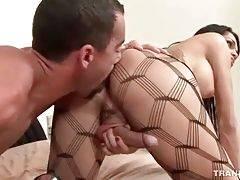 Turned on stud stuffs his boner inside she-male`s asshole.