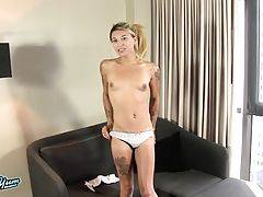 TJ is a beautiful tgirl with a sexy slim and well toned body, small natural breasts, a perfect round ass and a delicious cock! Watch this horny transgirl jacking her big dick!