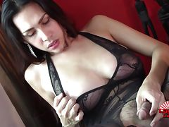 Tyra Evans is a hot Philippina tgirl with an amazing curvy body, big boobs, a juicy round ass and a hard cock! Watch this hot transsexual shaking her hot butt and stroking her hard dick!