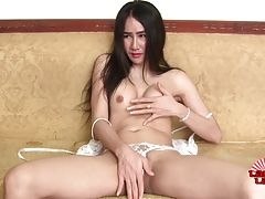 Aom is a horny tgirl with a sexy slim body, big tits, a firm butt and a thick hard cock! Enjoy this hot transgirl masturbating and cumming!
