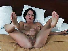 Brunette Tranny Gets Very Much Turned On 3