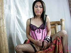 Exotic Filipino shemale Shane seems like a cute, shy little Tgirl. But she is pure sexiness under her clothes, and as she strips and her big juicy cock gets hard, so will you.