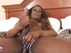Menah Gotti is a stunning young black tgirl with an amazing body, beautiful face, a great bubble butt and a delicious cock! Watch this hot Grooby girl stroking her rock hard cock and shaking her sexy booty!