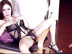 Plam is a gorgeous Bangkok ladyboy with an amazing body, big boobs, a superb ass and delicious hard uncut cock! Watch this sexy tgirl jacking off and cumming!