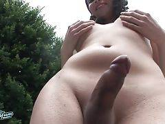 Sarah Webb is a gorgeous newcomer with a pretty face and a stunning body! This sexy tgirl has sexy big boobs, a juicy ass and a delicious cock! See this horny transgirl playing around by the pool and stroking her hard cock!