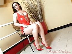 Check out the legs on this starlet! Those things could strangle a guy if she got to excited, so thank goodness we`ve got Thais on her own for this solo video. She`s going to send you mad in lust when she starts playing with her nipples. Those perky things
