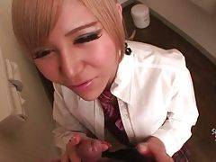 Pretty blond ladyboy Erina Aisaki starves for hard dick.
