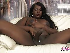 Ciara is a sexy curvy black tgirl with a hot ass, big juicy tits, and a hard uncut cock! Watch this sexy transgirl shaking her ass and stroking her dick!