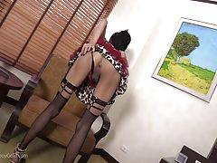 Cara`s hairless ass-pussy is slick and open, ready for bareback pleasure. The POV cock slides inside Cara as she jerks her pretty cock.