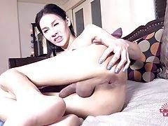 Jojo is a smoking hot Bangkok tgirl with a sexy slim body, big boobs, a hot ass and a sexy cock! Join sexy tgirl Jojo as she fucks herself with her dildo and masturbates until she cums!