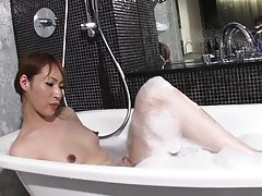 Haruka has a nice body, natural tits and a rock hard uncut tgirl cock. Watch this hot and sexy petite tgirl steaming up the bathroom as she strokes her hot tgirl cock for you before she gets played.