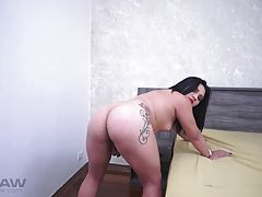 Her tiny pecker is now empty of all the warm piss she leaked and her holes are bend over, just for that dick to enter. Her cock hunger is so big, she can`t help it but suck the dick dry, even the last drip sucked by her cum vacuum.